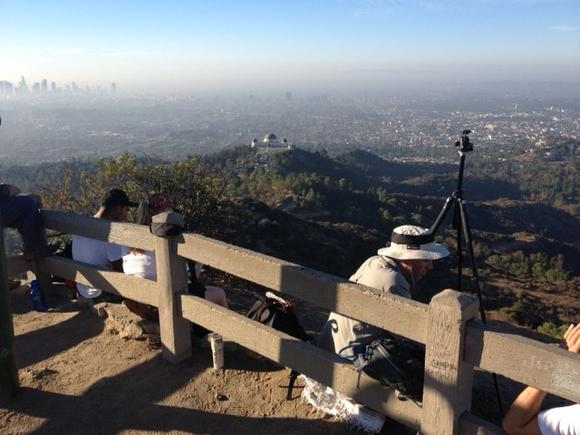 L.A.-area residents stake out their positions near Griffith Observatory Friday, Sept. 21