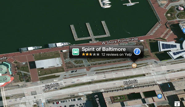 The cruise ship Spirit of Baltimore shows up on land, according to Apple's new maps app.