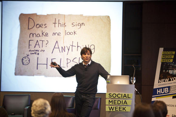 Alex Bogusky speaks during the Social Media Week 2012 conference at Thomson Reuters Headquarters in New York on Feb. 15.