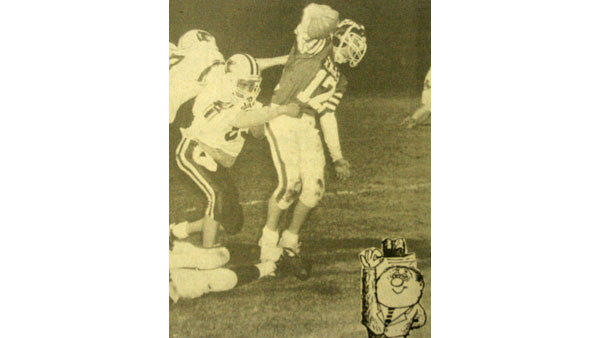 Al Pine Sez, was a staple of the Herald Times opinion section for several years. On Sept. 26, 1991, Al Pine turned to sports with this photo of St. Mary running back Brian Switalski. The caption read, Catch the excitement of the season as hometown teams challenge rivals from across the north on the gridiron. Al Pine sez, `Whatever your sporting pleasure, be a hometown booster and support your local teams. Yell from the stands and let our athletes know you care about them, win or lose.