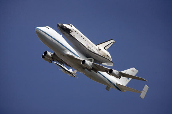 Endeavour flies over Providence High School in Burbank on Friday, September 21, 2012.
