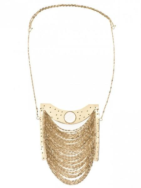 Gold-plated over bronze multi-chain necklace, $308, by Colombian artist Gustav Klimt for the Khbeis label.