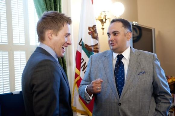 "Assembly Speaker John A. Pérez, right, speaks with ""8"" author Dustin Lance Black."