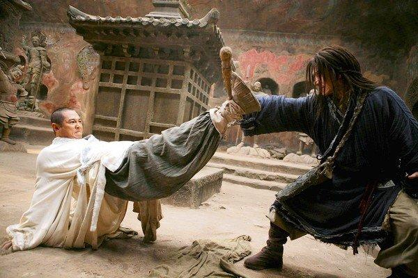 "Jet Li, left, and Jackie Chan battle in ""The Forbidden Kingdom."""