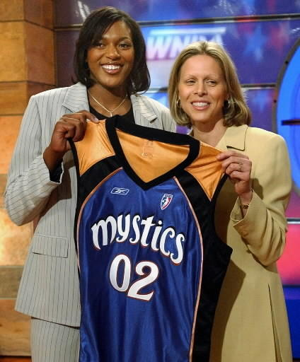 UConn's Asjha Jones, left, was chosen as the number four pick in the WNBA draft by the Washington Mystics Friday, April 19, 2002, in Secaucus, N.J. WNBA President Val Ackerman presents her with the Mystics jersey.
