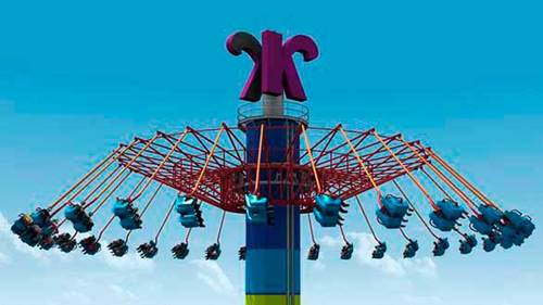 WindSeeker will carry 64 riders in twin-seat gondolas to the top of the tower, where the ride's metal arms will extend out at a 45-degree angle and spin for one minute at 30 mph.