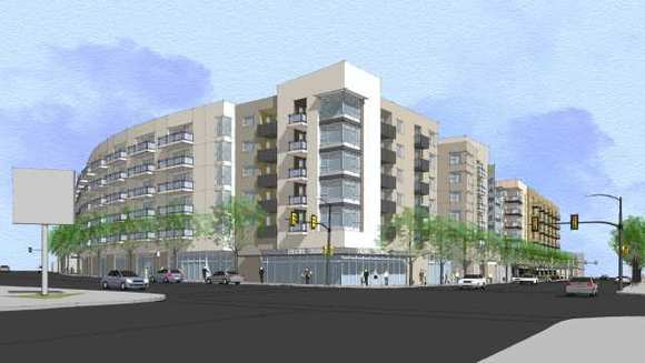 A rendering of the Triangle project in South Glendale, across from Glendale Memorial Hospital.