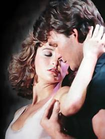 "Patrick Swayze and Jennifer Grey dance in the 1987 movie ""Dirty Dancing."""