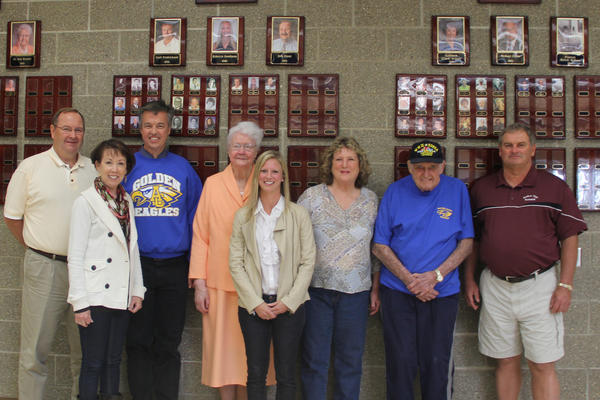 Aberdeen Central High School Hall of Fame induction class from left: Bob Olson, Cathleen Britton, Dr. David Hurrell, Sister Ann Kessler, Rebecca Goodman, Wendy McBane for Frances McBane, Robert Gates and Curt Fredrickson. American News Photo by Kay Nguyen