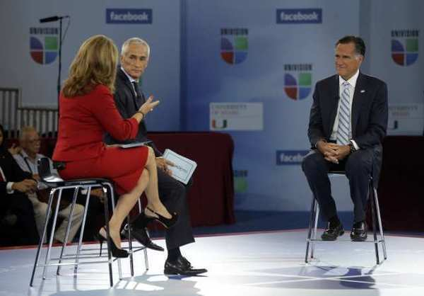 Mitt Romney participates in a Univision forum with Jorge Ramos and Maria Elena Salinas in Miami on Wednesday.