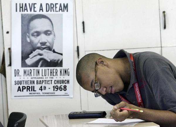 Senior Donny Byrd works on a math assignment this week at Chicago's Perspectives/IIT Math and Science Academy charter school. Charter students were unaffected by the Chicago Teachers Union strike.