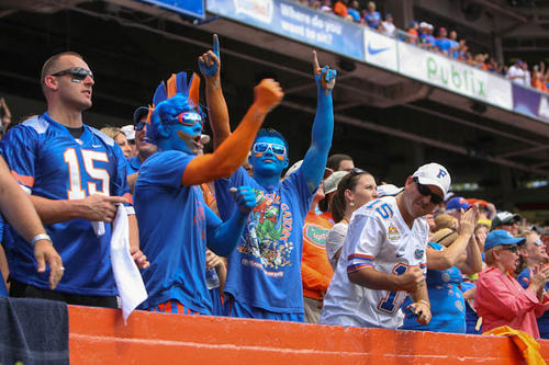 Florida fans cheer during second quarter action of their game against Kentucky at Ben Hill Griffin Stadium on Saturday, September 22, 2012 in Gainesville, FL.