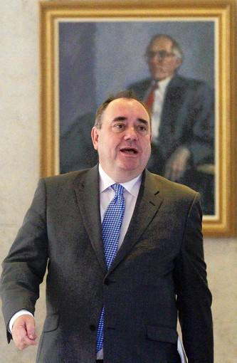 """I think of myself as a Scot first. There is a British connection, there's a European connection, but my identity is Scottish,"" says Scottish First Minister Alex Salmond, pictured arriving at the Scottish Parliament in Edinburgh this month."