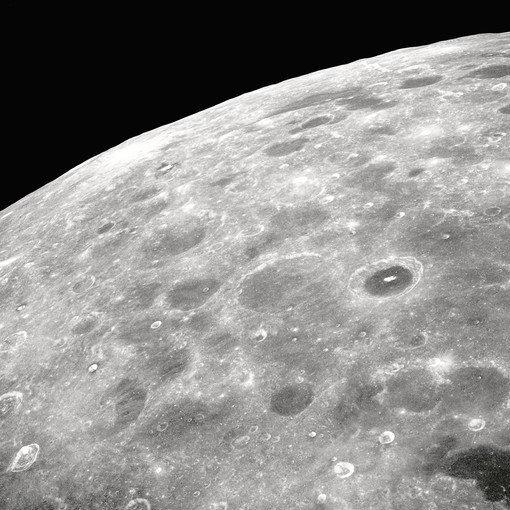 A view of the lunar surface from the Apollo 8 spacecraft. NASA officials are considering the idea of a permanent orbital outpost near the moon that could serves as a staging base for future lunar missions or even trips to Mars.