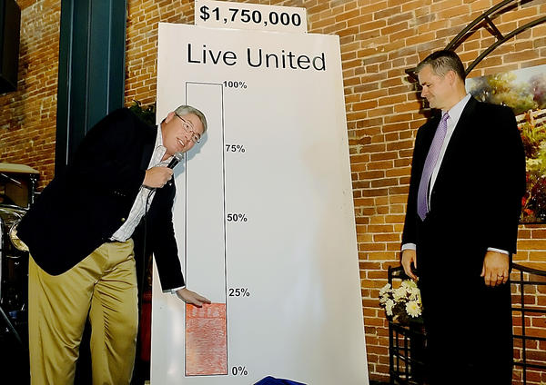 United Way Campaign co chairman Peter Perini shows the starting point of money that United Way has towards their 2012 campaign as co chariman James Fakult looks on during the campaign kick off Saturday night