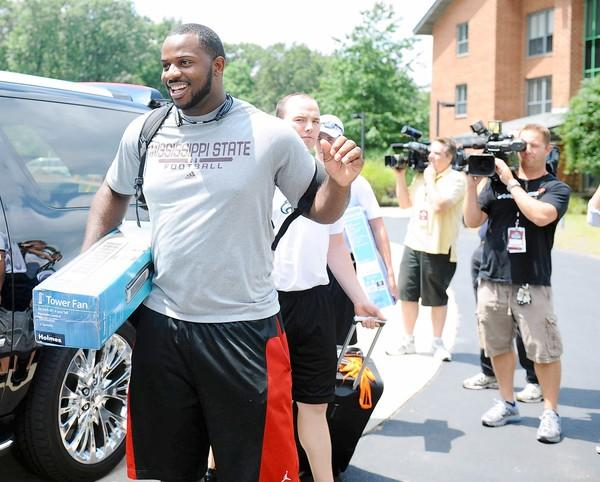 Fletcher Cox arrives at training camp at Lehigh University on Sunday July 22, 2012.