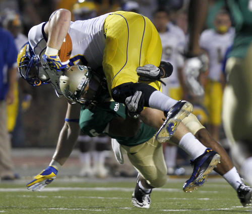 William & Mary's Airek Green up-ends Delaware's Nick Boyle during the first quarter of Saturday's game.