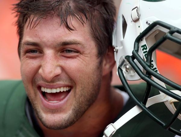 Quarterback Tim Tebow #15 of the New York Jest prepares to play the Miami Dolphins at Sun Life Stadium on September 23, 2012 in Miami Gardens, Florida. Marc Serota
