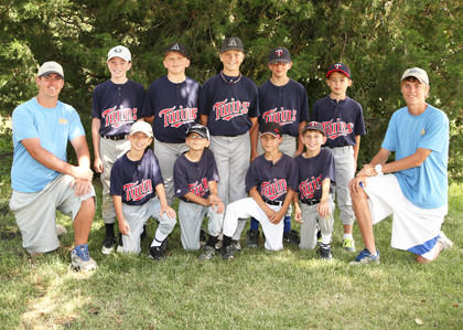 The Twins earned the tourney championship in the D minor league of the Aberdeen Parks, Recreation and Forestry baseball program. Back row, from left: Aiden McCafferty, Eian Risager, Reece Bruckhard, Lincoln Wilkinson and Carter Usselman. Front row, from left: Coach Kyle Walz, Dawson Otter, Xavier Gorczewski, Dylan Owens, Jared Getty and coach Josh White. Not pictured: Alexander McQuarie and Rawley Moore.