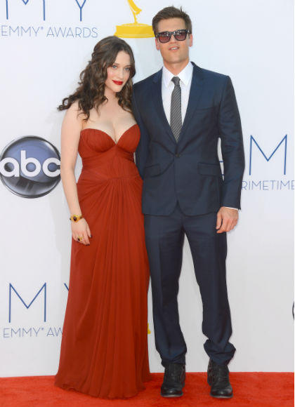Emmys 2012 red carpet arrival pictures: Kat Dennings & Nick Zano, 2 Broke Girls