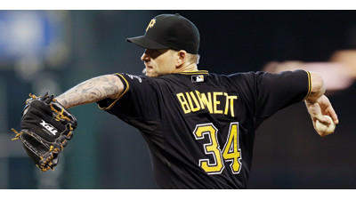 Pittsburgh Pirates starting pitcher A.J. Burnett throws against the Houston Astros on Sunday.