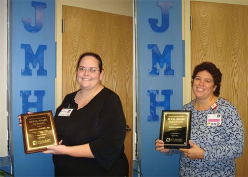 Natasha Cortez-Caja, laboratory manager, was winner of the Ruby Award, and Sandy Martin, RN, Diamond Award.