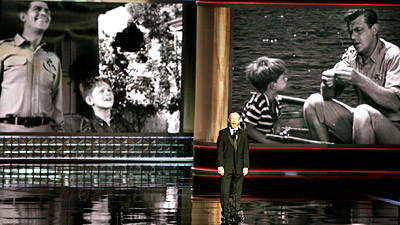 Ron Howard gives a tribute to Andy Griffith during the 64th Annual Primetime Emmy Awards.