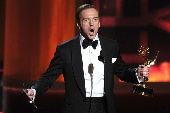 """Damian Lewis accepts his Emmy for his role in the Showtime drama """"Homeland."""""""