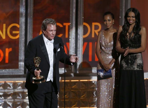 "Greatest unfinished acceptance speech of the night: Actor Tom Berenger, winning for ""Hatfields & McCoys,"" rambled into a magnificent speech that involved references to rabid racoons and demented garden gnomes before getting cut off by the house band. What's the end of the speech? We'll never know. <style type=""text/css"">