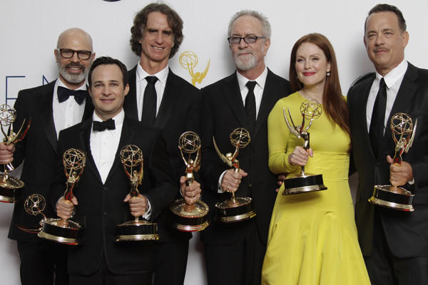 "Members of ""Game Change"" celebrate their multiple Emmys."