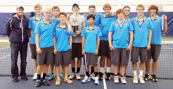 Members of the Petoskey High School boys tennis team gather Saturday after winning the Petoskey Quad. Team members are front (from left) Sam Robbins, Christian Wilder, Nico Ceniza, Will Hartwick, Mitch Reynolds; back, coach John Boyer, Tommy Kidd, Brandon Pomranke, Zach Phillips, Cam Ludlow, Mitch Rider, Caleb Mitchum and Conner Allen.