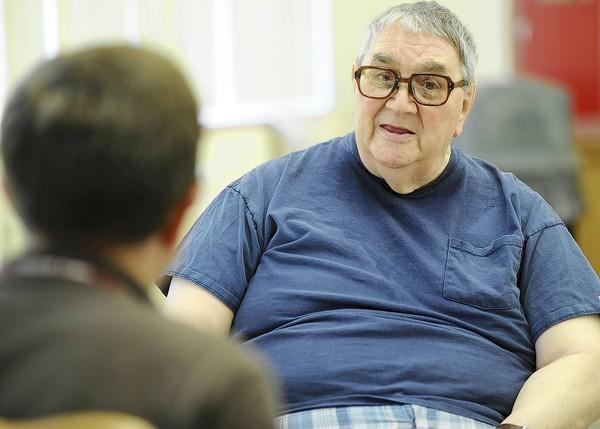 Resident of Cedarbrook, Jack Steckel 85, formally of Allentown talks with a reporter Friday September 14, 2012 about the new voter IDs that must have an expiration date on them.