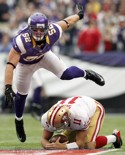 Minnesota's Chad Greenway (52) sacks 49ers quarterback Alex Smith (11) in the first quarter at Mall of America Field in Minneapolis, Minnesota, on Sunday, September 23, 2012. The Minnesota Vikings beat the San Francisco 49ers, 24-13. (Carlos Gonzalez/Minneapolis Star Tribune/MCT)