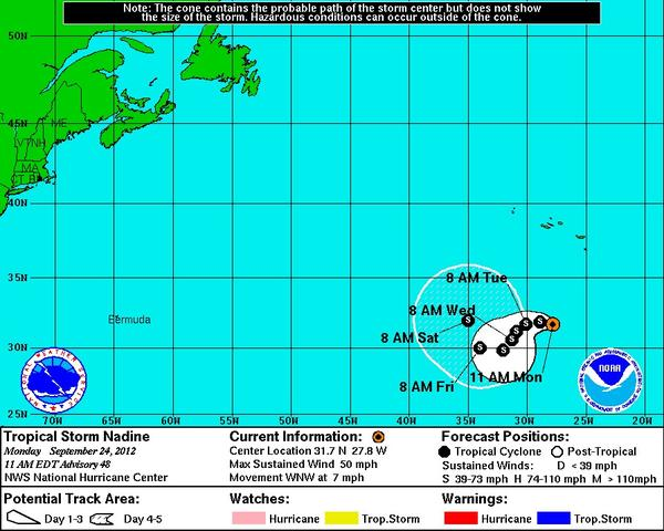 Tropical Storm Nadine is still circling the Atlantic Ocean, about two weeks after it first formed.