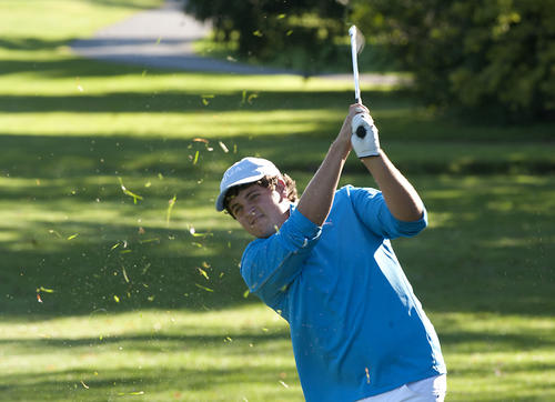 Nazareth High School junior Bret Howey, 16, of Nazareth, swings on hole 3 during the Lehigh Valley Conference championship golf tournament at the Allentown on Monday.