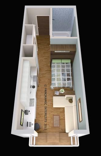 An artist's concept shows a cozy 300-square-foot space in San Francisco designed by SmartSpace. The city will consider allowing even smaller residences.