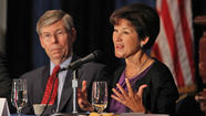 Picture: Alex Sink, Bill McCollum speak during Florida Forum