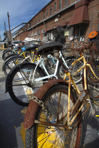 Shipyard officials estimate that bikes as old as 15 may still be in service by employees at Newport News Shipbuilding. Bikes are considered a privilidge and are assigned to groups of workers in the same shop or individual workers. A many a 6,000 bikes are owned by the shipyard for workers to transit the expansive yard.