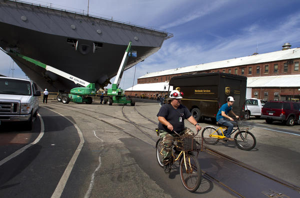 Approximately 5,000 bikes provide transportation for workers around the shipyard. at Newport News Shipbuilding in Newport News. Another 1,000 bikes are in some state of maintenance at any one time.  Workers tool around the yard on bikes to and from locations in the expansive shipyard cutting travel time and helping improve productivity.