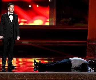174237.CA.0923.Emmys.MJB A prone Tracy Morgan, right, is part of a Jimmy Kimmel internet prank to boost ratings during coverage of the 64th Annual Primetime Emmy Awards Show on September 23, 2012 at Nokia Theatre L.A. Live, Los Angeles, California.  (Photo by Mark Boster / Los Angeles Times)