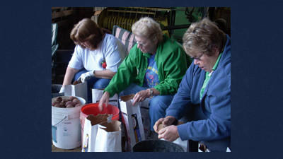 From left: Janet Vatavuk, Earlene O'Brien and Pam Weimer bag potatoes for the Somerset County food pantries last Saturday at Laurel Vista Farms.