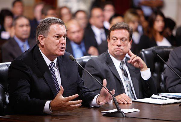 Anschutz Entertainment Group President Tim Leiweke speaks to Los Angeles City Council members Monday morning.