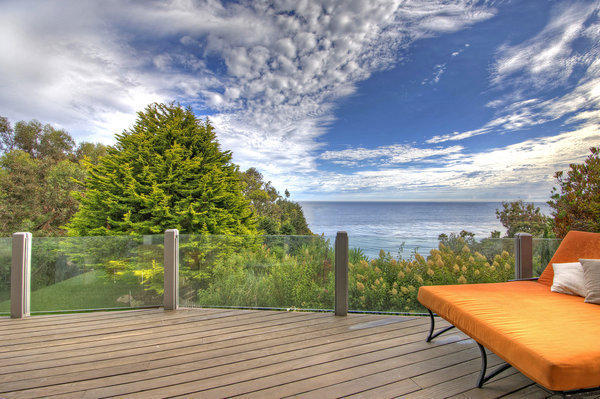 The deck provides an outdoor spot to relax and take in the views.