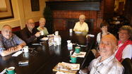 Leroy Jauman and a handful of members of the HBHS class of '42 who meet regularly at a local Marie Callender's.