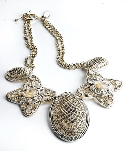 Lattice filigree necklace, $98 at Ann Taylor, anntaylor.com.
