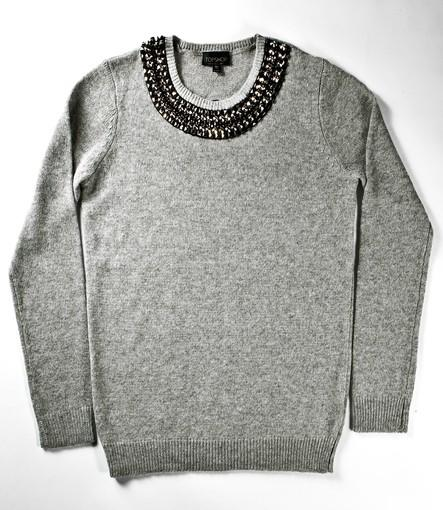 Gray wool sweater with silver and black studded neckline, $90 at TopShop, topshop.com.