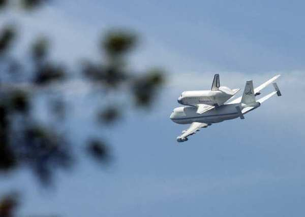 The Space Shuttle Endeavor, after flying over JPL in Pasadena on the final flight of the space shuttle on Friday, September 21, 2012.