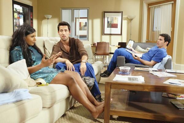 "Mindy Kaling, Ed Weeks, center, and Chris Messina star in ""The Mindy Project."""