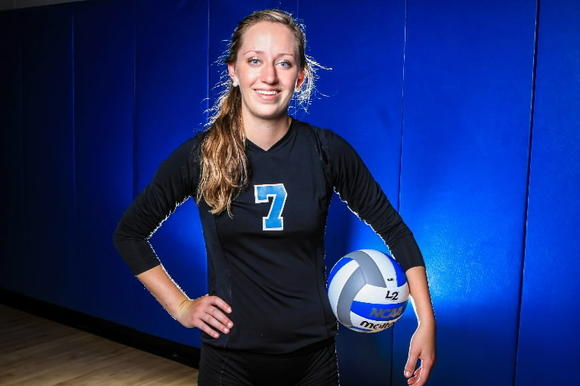 Emma Ballantyne had nine kills and 10 digs for Hagerty in a 3-0 win over Winter Springs on Monday. (Joshua C. Cruey/Orlando Sentinel)