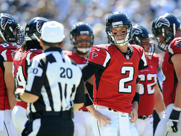Atlanta Falcons quarterback Matt Ryan (2) questions a call by referee Jim Core during the third quarter against the San Diego Chargers at Qualcomm Stadium.